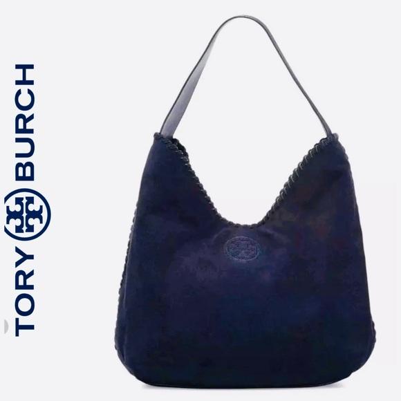 8ab8813493e Like New TORY BURCH Marion Hobo Suede Navy Bag. M 5c326cdb951996e868669c2f